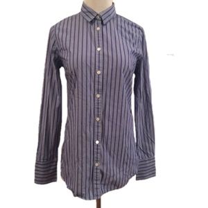 Banana Republic Button Front Shirt Striped 6 Tall